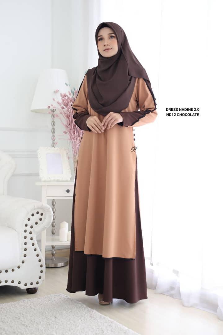 DRESS MUSLIMAH TERKINI NADINE PREMIUM CREPE ND12 2
