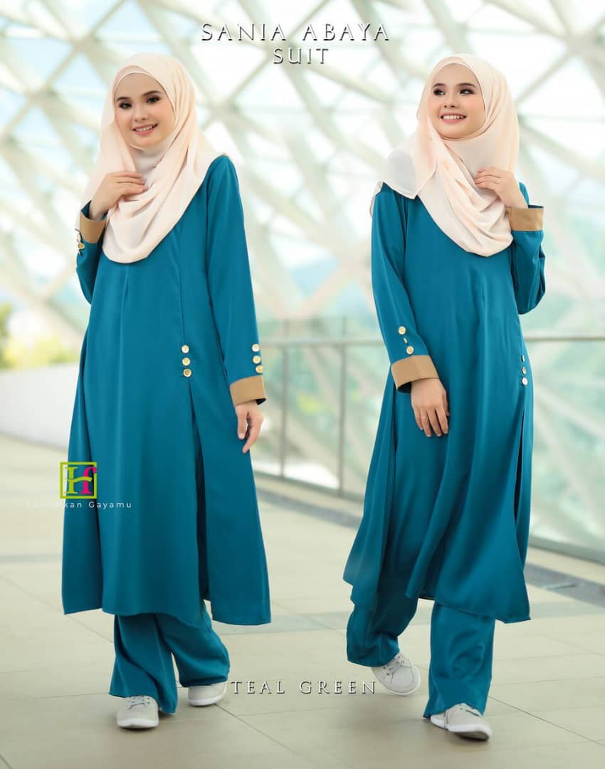 ABAYA SUIT SANIA TEAL GREEN