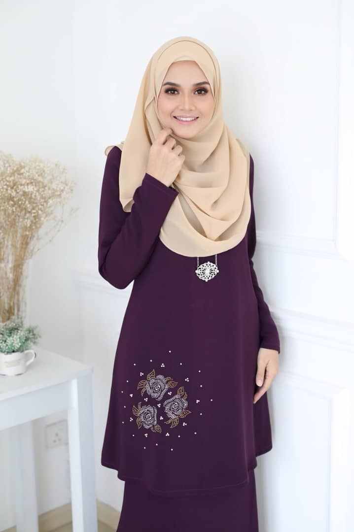 BAJU KURUNG MODEN PLAIN FURSAN QISYA DIAMOND PURPLE 2