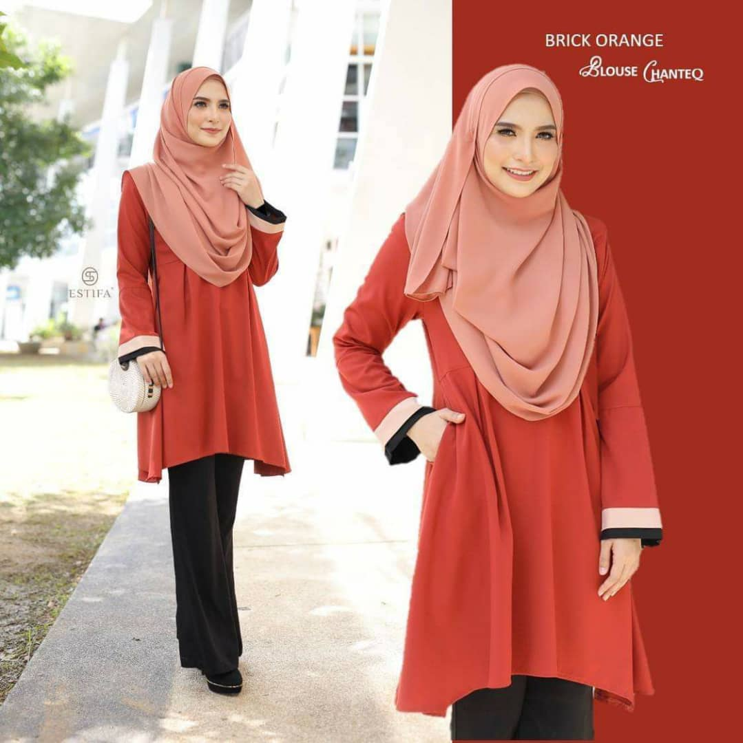 BLOUSE MUSLIMAH PLUS SIZE CHANTEQ BRICK ORANGE
