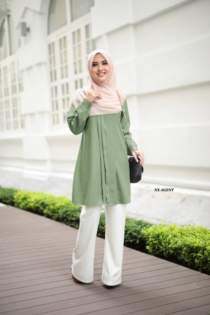 BLOUSE MUSLIMAH POLOS JAMEELA DUSTY GREEN 1