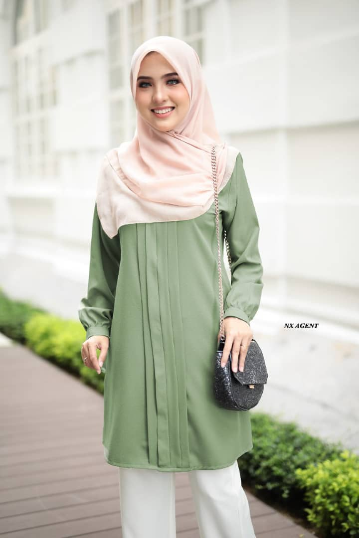 BLOUSE MUSLIMAH POLOS JAMEELA DUSTY GREEN 2