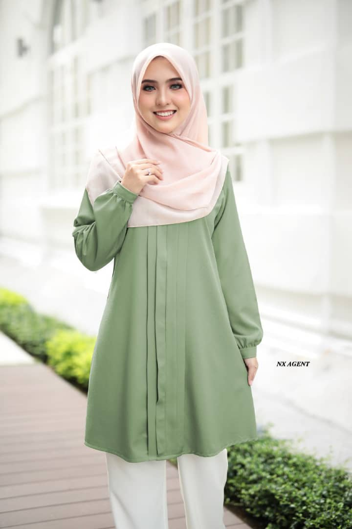BLOUSE MUSLIMAH POLOS JAMEELA DUSTY GREEN 3