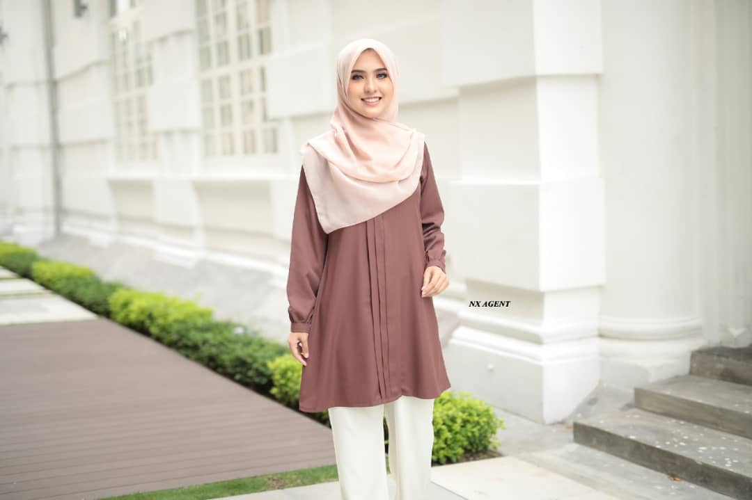 BLOUSE MUSLIMAH POLOS JAMEELA LIGHT COFFFEE 1