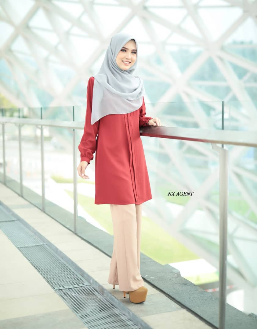 BLOUSE MUSLIMAH POLOS JAMEELA RED ORANGE 1