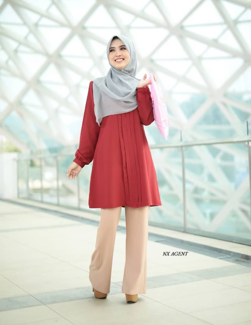BLOUSE MUSLIMAH POLOS JAMEELA RED ORANGE 2