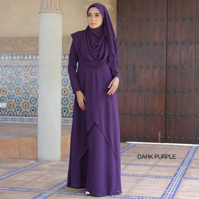 JUBAH CHIFFON OZLYNN DARK PURPLE