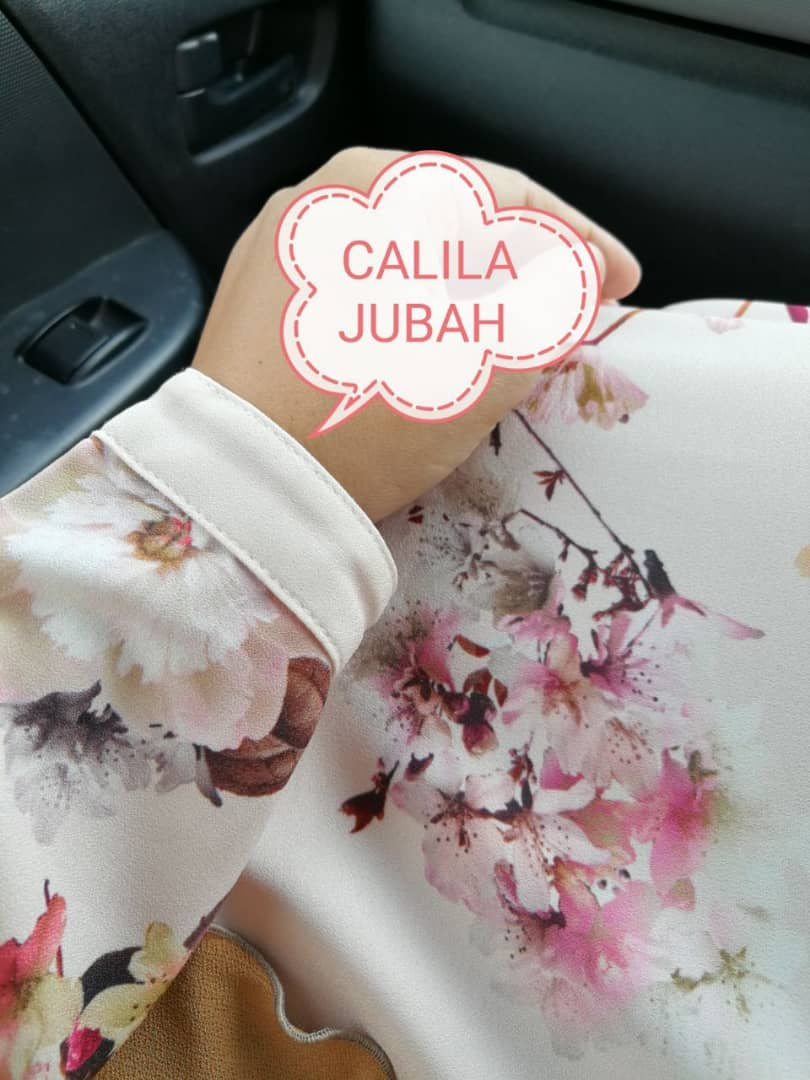 JUBAH ITALIAN PRINTED CREPE CALILA PASTEL JC CLOSE 4