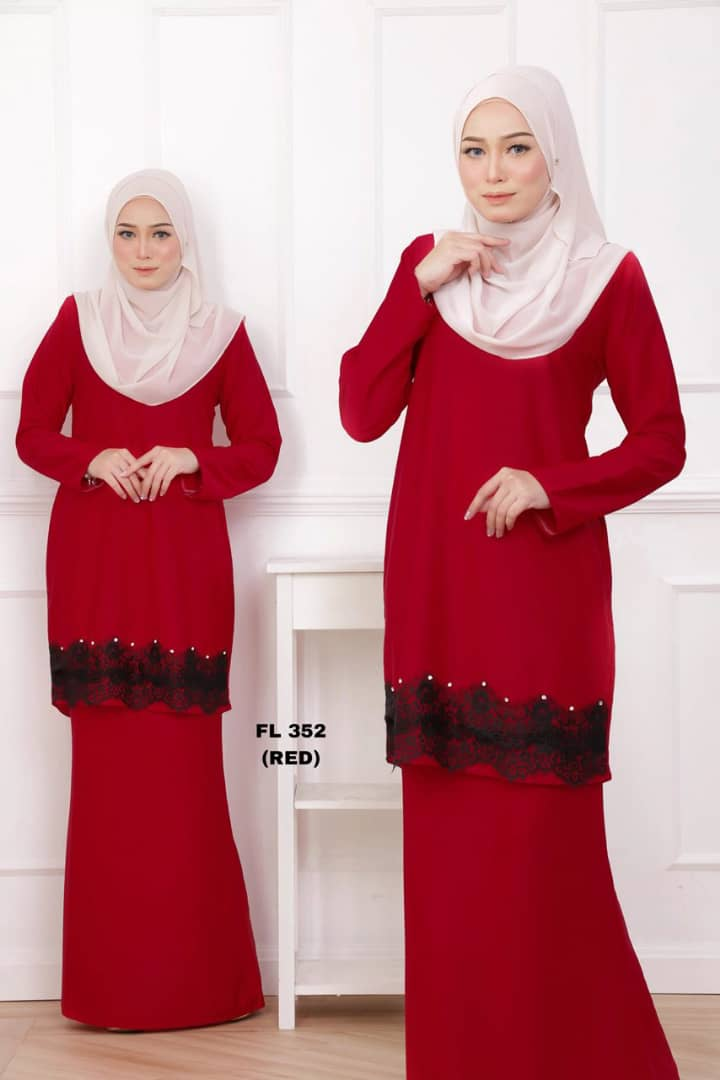 KURUNG MODEN LACE FILYA RED