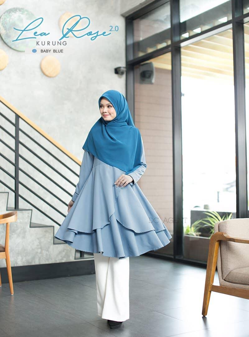 SUIT MUSLIMAH TERKINI LEA ROSE BABY BLUE 2