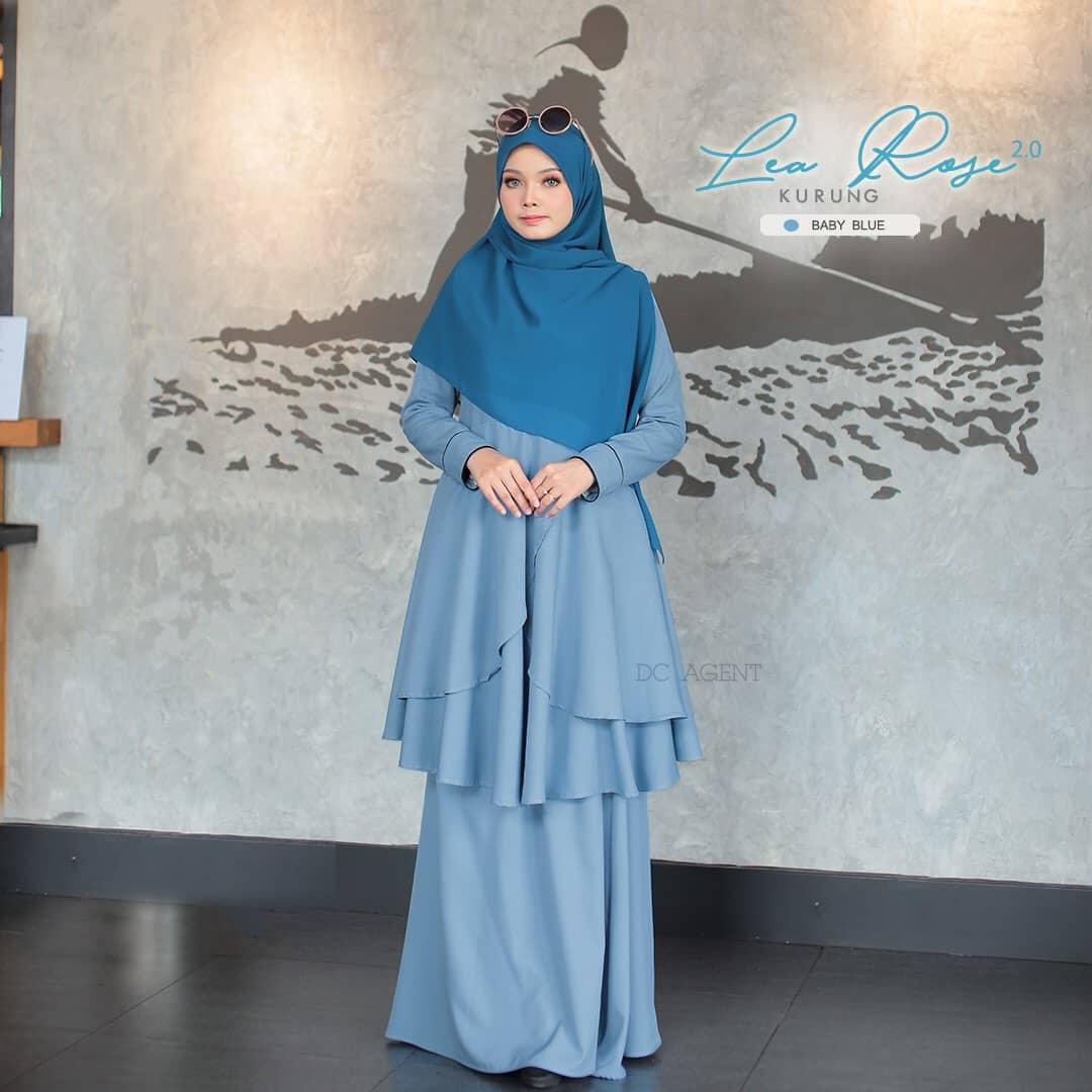 SUIT MUSLIMAH TERKINI LEA ROSE BABY BLUE 4