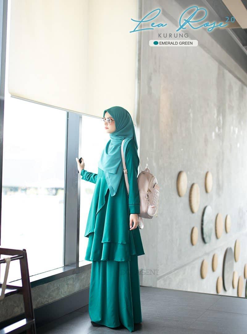 SUIT MUSLIMAH TERKINI LEA ROSE EMERALD GREEN 1