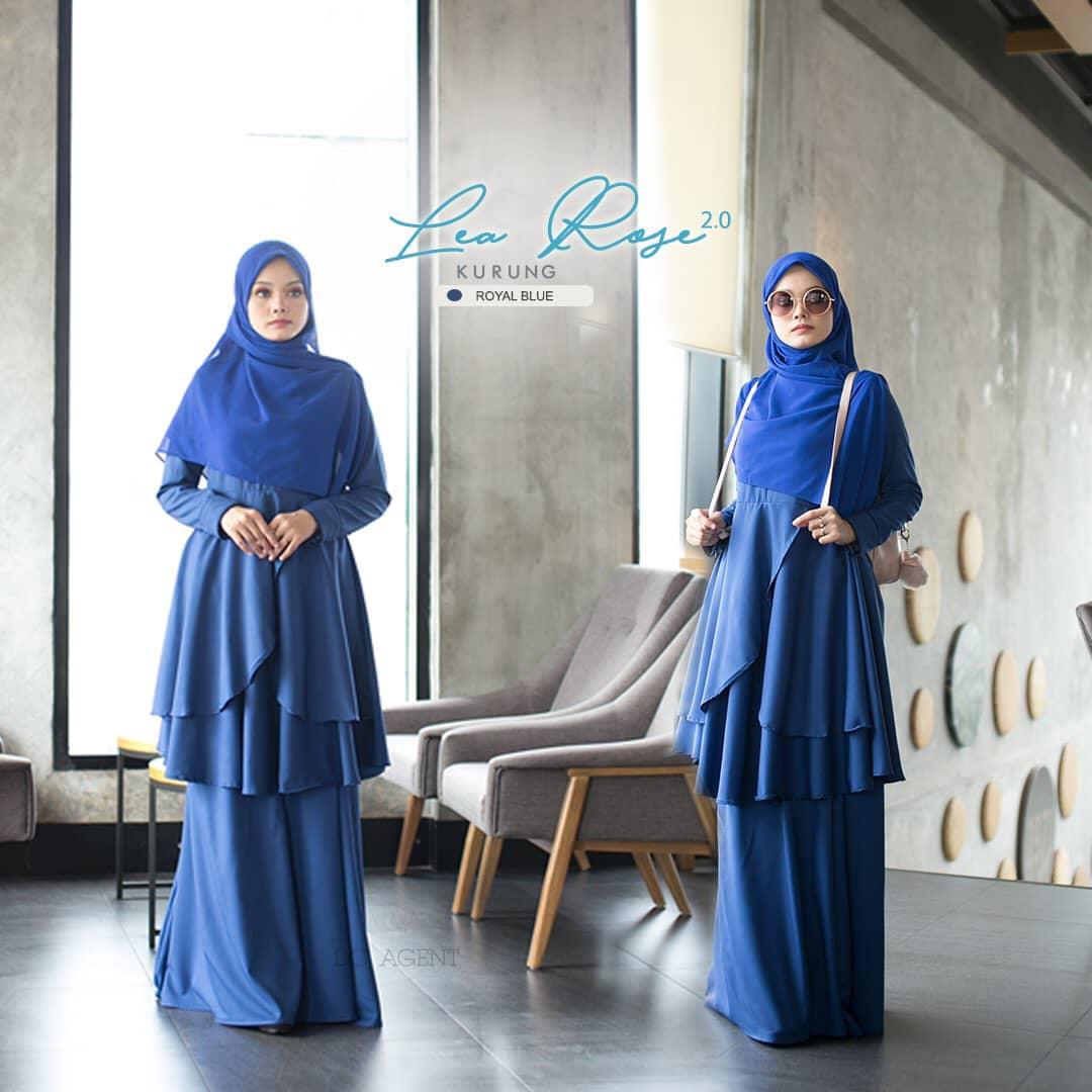 SUIT MUSLIMAH TERKINI LEA ROSE ROYAL BLUE 1