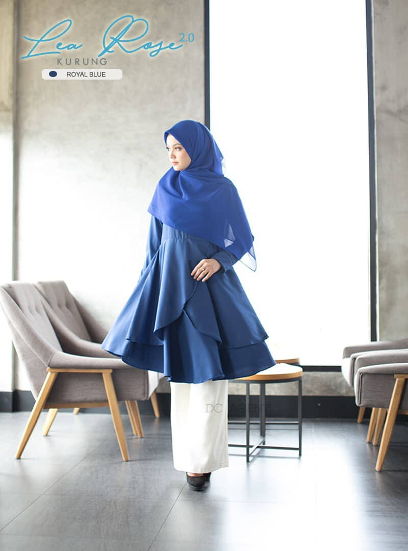 SUIT MUSLIMAH TERKINI LEA ROSE ROYAL BLUE 2