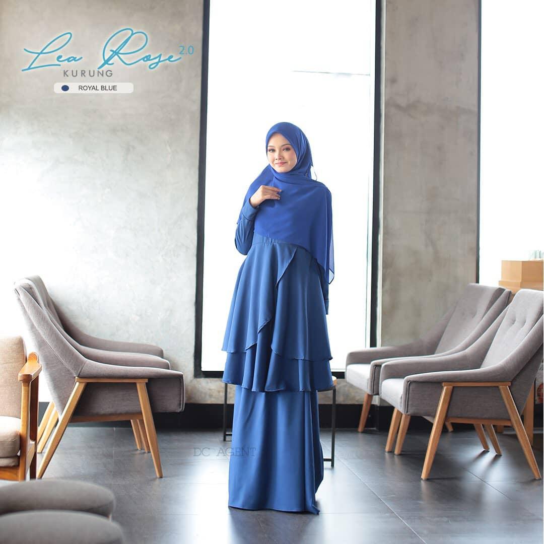 SUIT MUSLIMAH TERKINI LEA ROSE ROYAL BLUE 3