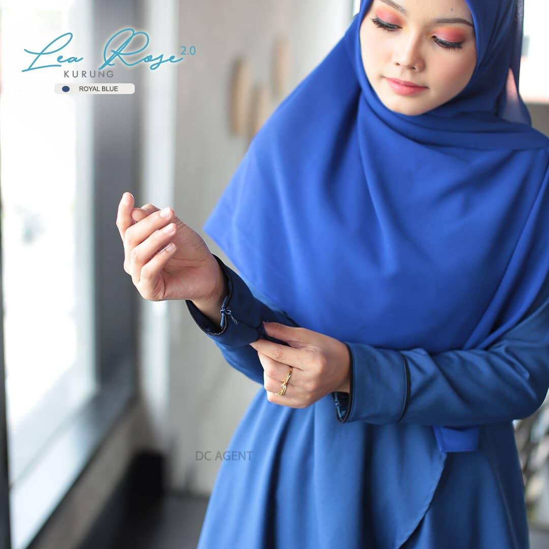 SUIT MUSLIMAH TERKINI LEA ROSE ROYAL BLUE 5
