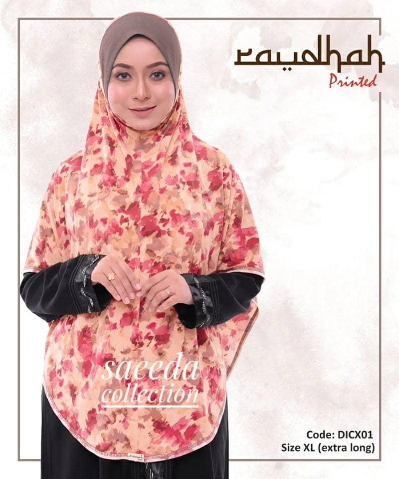 TUDUNG SARUNG INSTANT BERDAGU PRINTED RAUDHAH LABUH SAIZ XL DICX01
