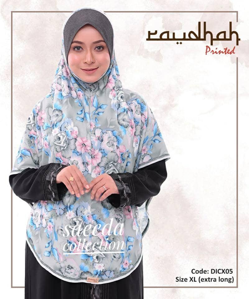 TUDUNG SARUNG INSTANT BERDAGU PRINTED RAUDHAH LABUH SAIZ XL DICX05