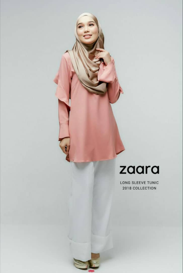 ZAARA LONG SLEEVE MUSLIMAH BLOUSE PEACH