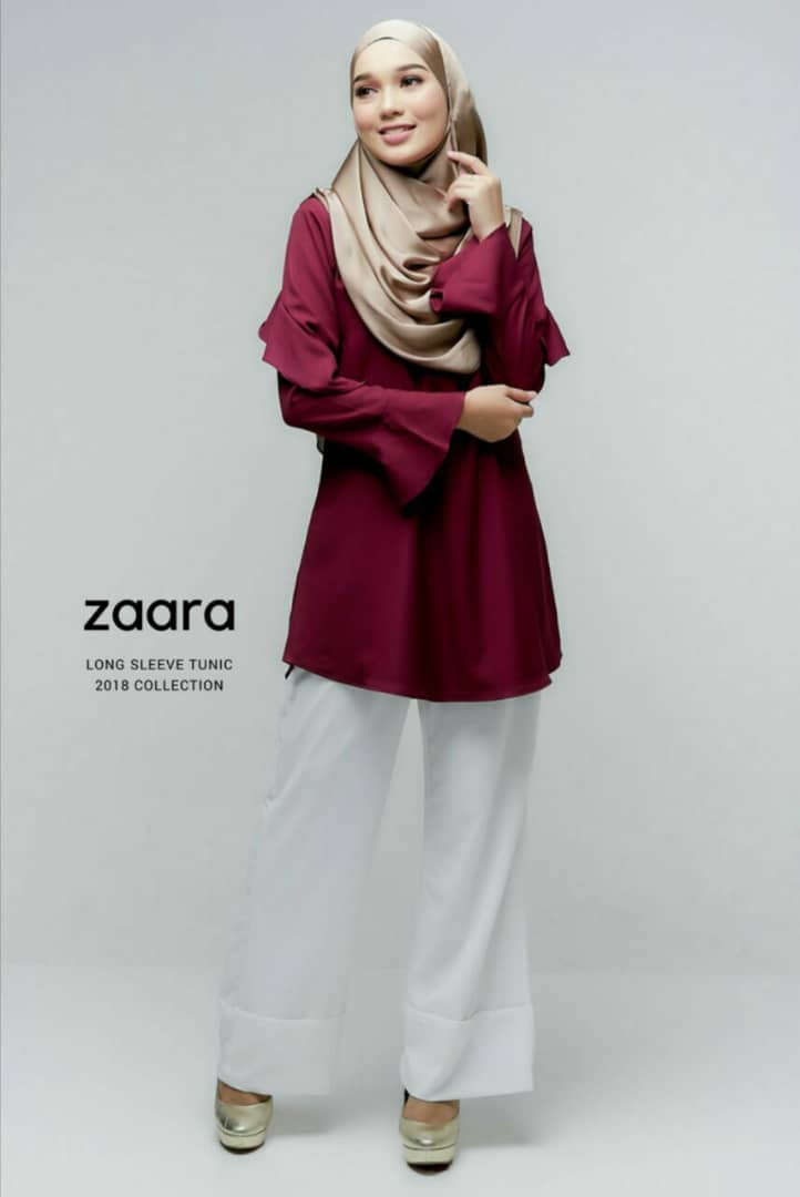 ZAARA LONG SLEEVE MUSLIMAH BLOUSE PLUM
