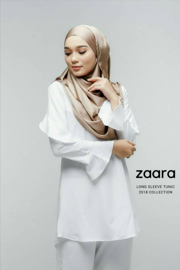 ZAARA LONG SLEEVE MUSLIMAH BLOUSE WHITE