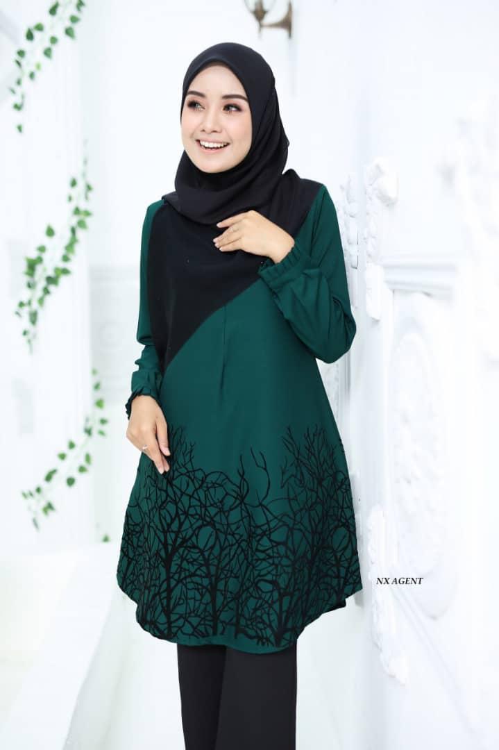 BLOUSE MUSLIMAH TERKINI CAMELIA EMERALD GREEN 2