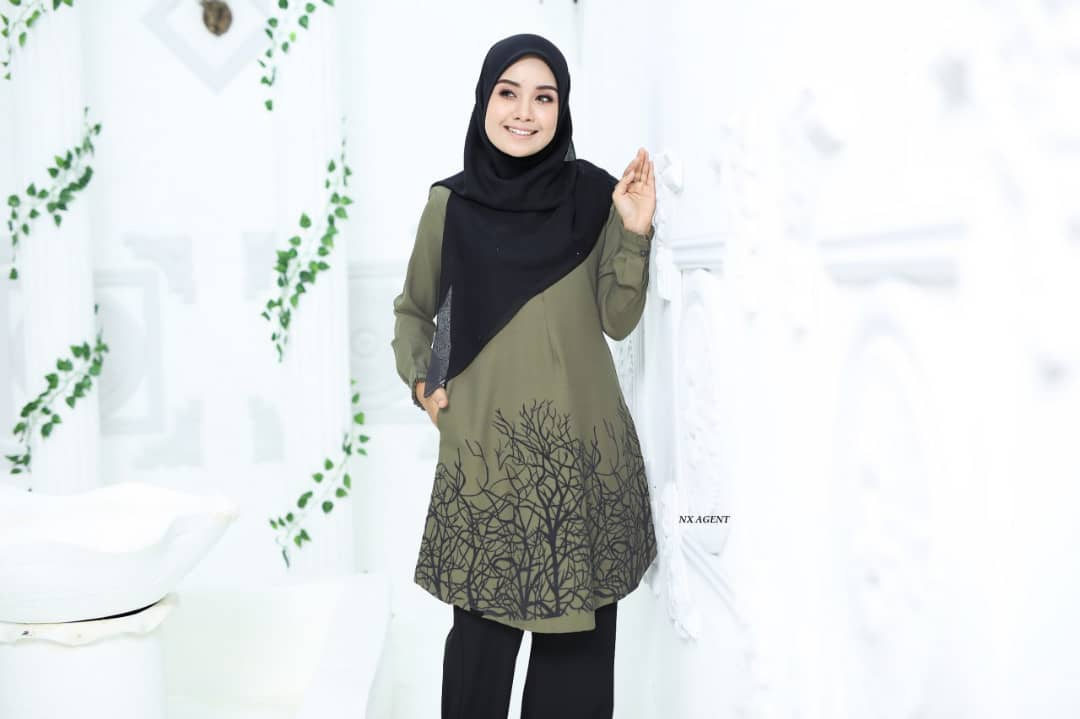 BLOUSE MUSLIMAH TERKINI CAMELIA OLIVE GREEN 2