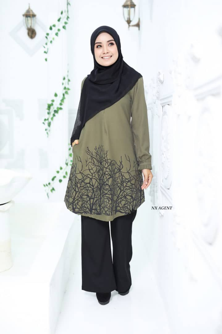 BLOUSE MUSLIMAH TERKINI CAMELIA OLIVE GREEN 3