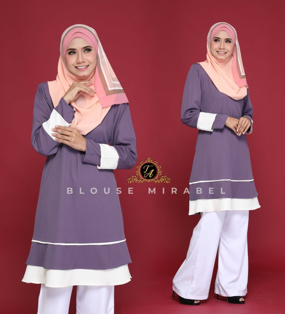 BLOUSE MUSLIMAH TERKINI MIRABEL DUSTY PURPLE 1