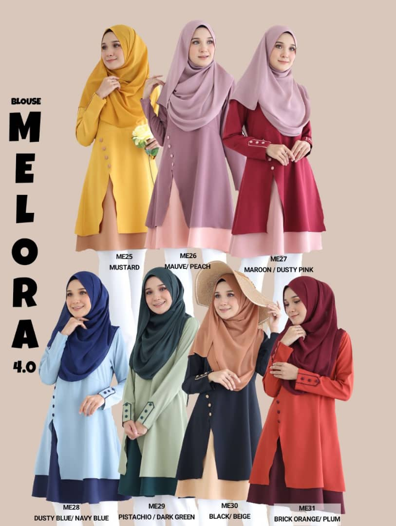 BLOUSE MUSLIMAH TERKINI MODEN MELORA ALL
