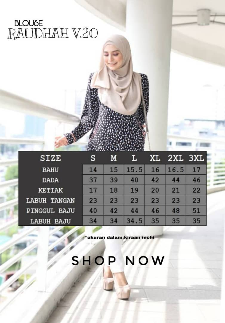BLOUSE MUSLIMAH TRAVEL FRIENDLY IRONLESS RAUDHAH BR UKURAN