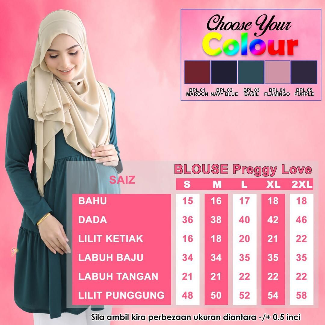 BLOUSE PREGGY LOVE ANTI IRON TRAVEL FRIENDLY UKURAN