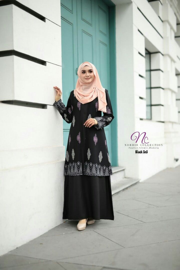 JUBAH LAYER SONGKET NAYRA BLACK 1