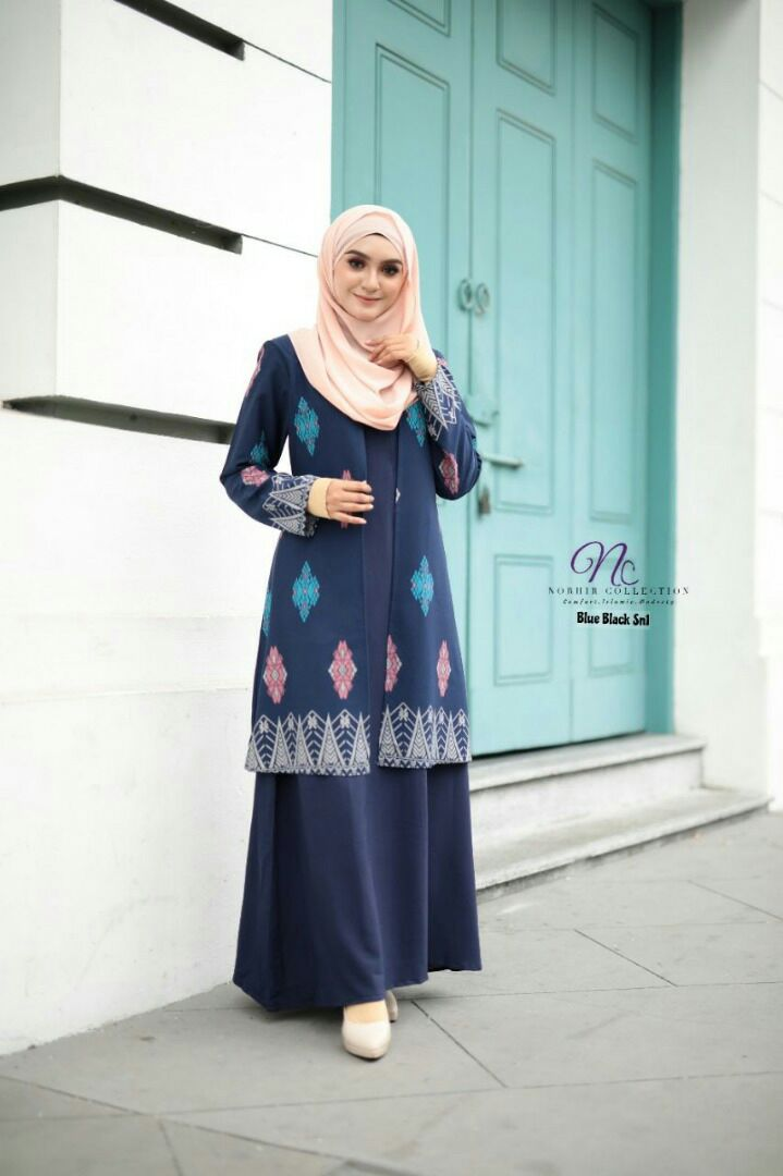 JUBAH LAYER SONGKET NAYRA BLUE 1