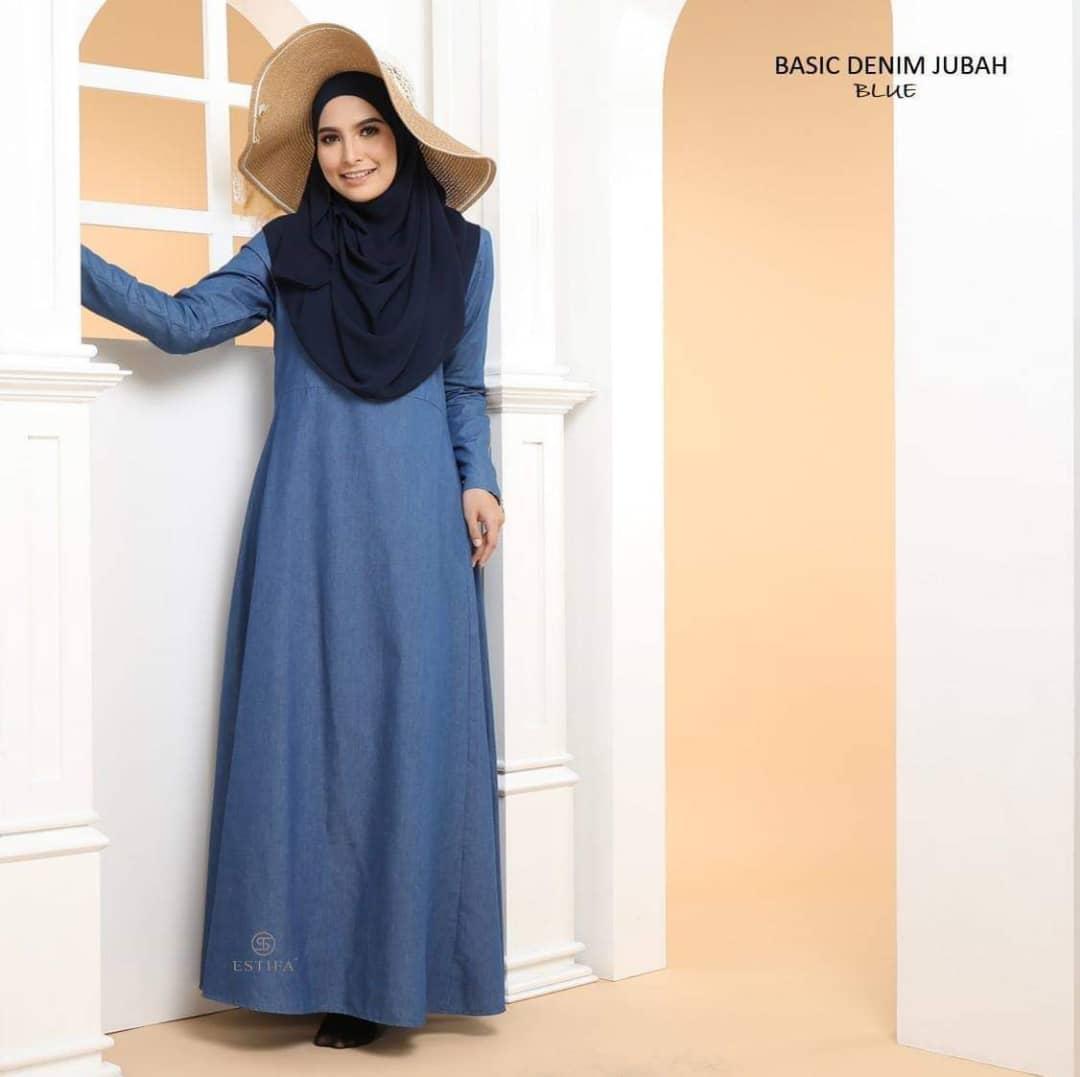 JUBAH MUSLIMAH DENIM BASIC BLUE 2
