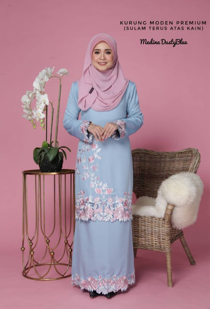 KURUNG MODEN SULAM COTTON PRADA MEDINA DUSTY BLUE 2
