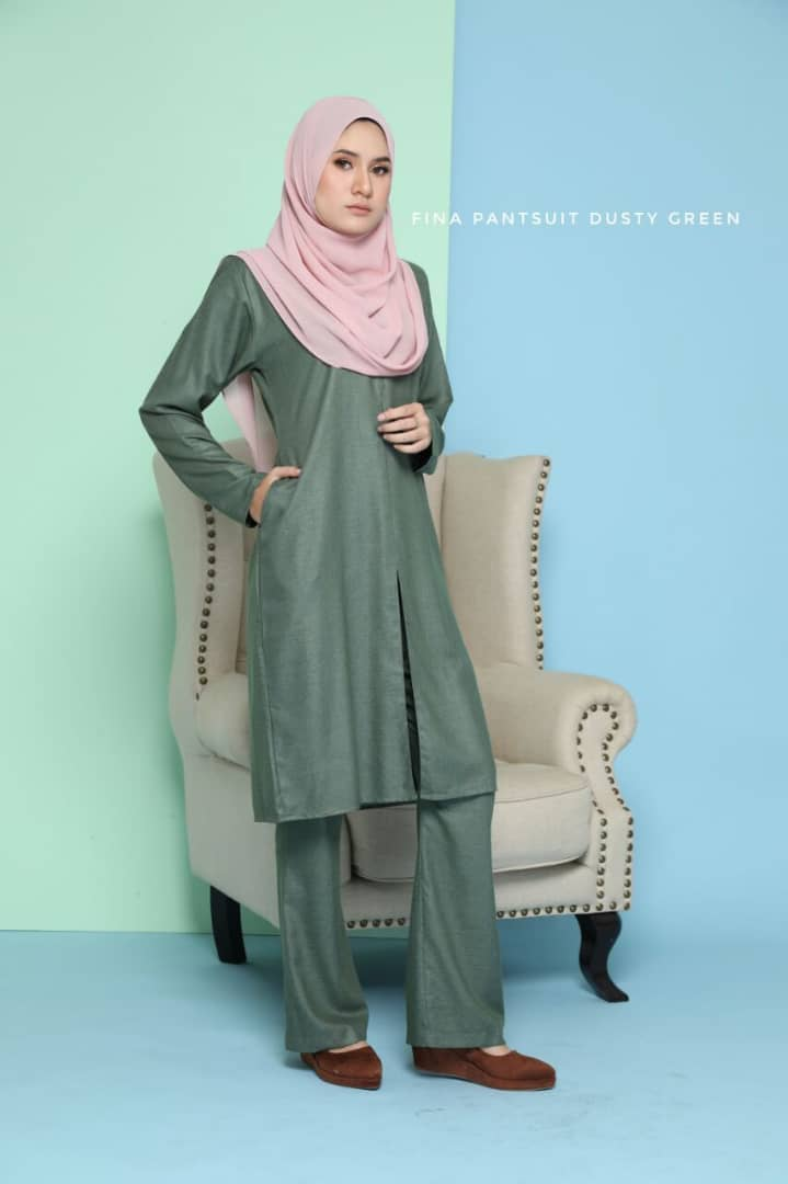 SUIT JUBAH SELUAR FINA SUIT DUSTY GREEN