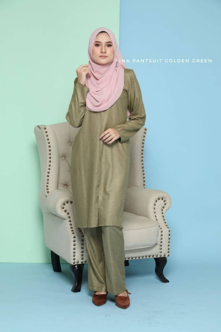 SUIT JUBAH SELUAR FINA SUIT GOLDEN GREEN