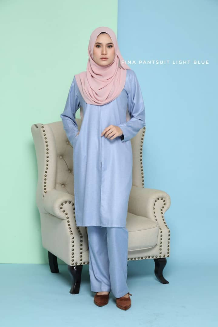 SUIT JUBAH SELUAR FINA SUIT LIGHT BLUE