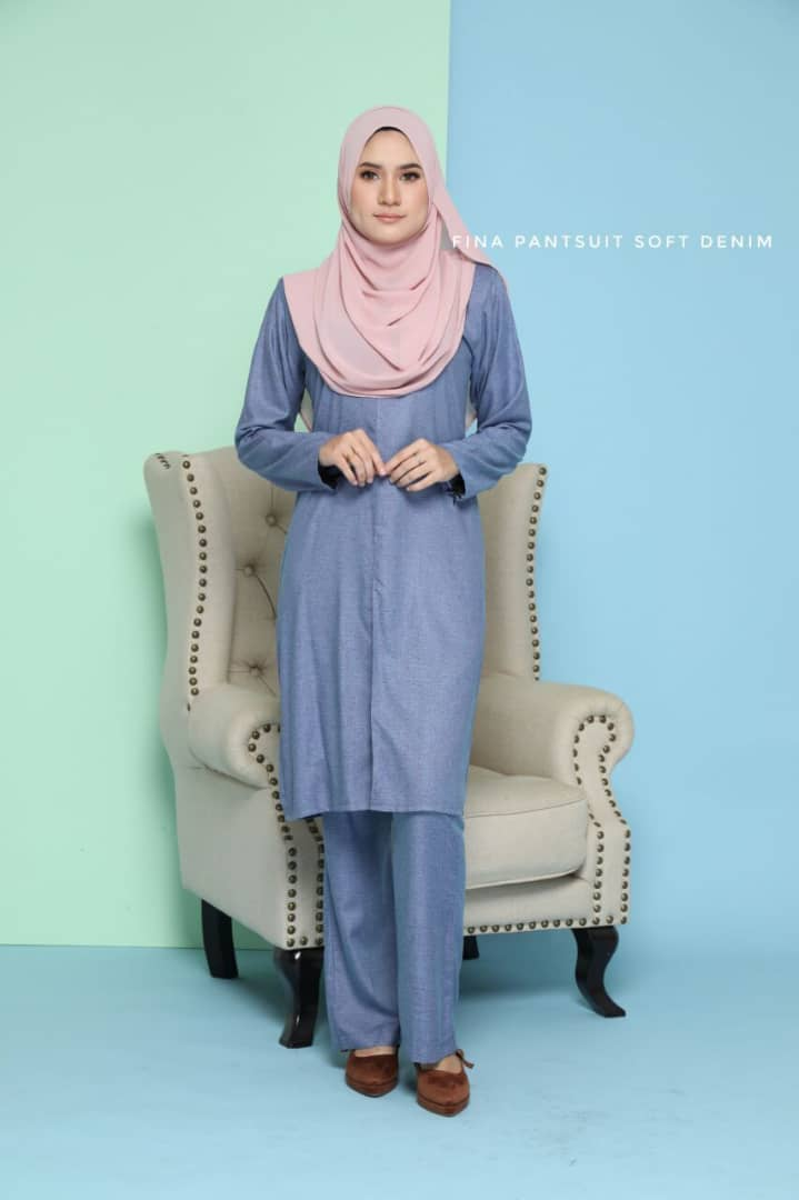 SUIT JUBAH SELUAR FINA SUIT SOFT DENIM