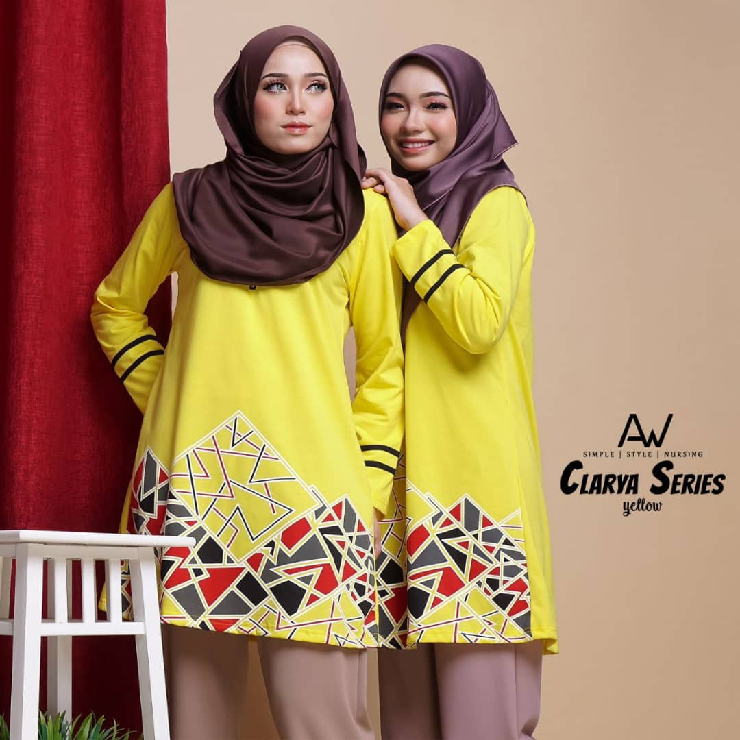 TSHIRT MUSLIMAH COTTON TERKINI CLARYA SERIES YELLOW 2