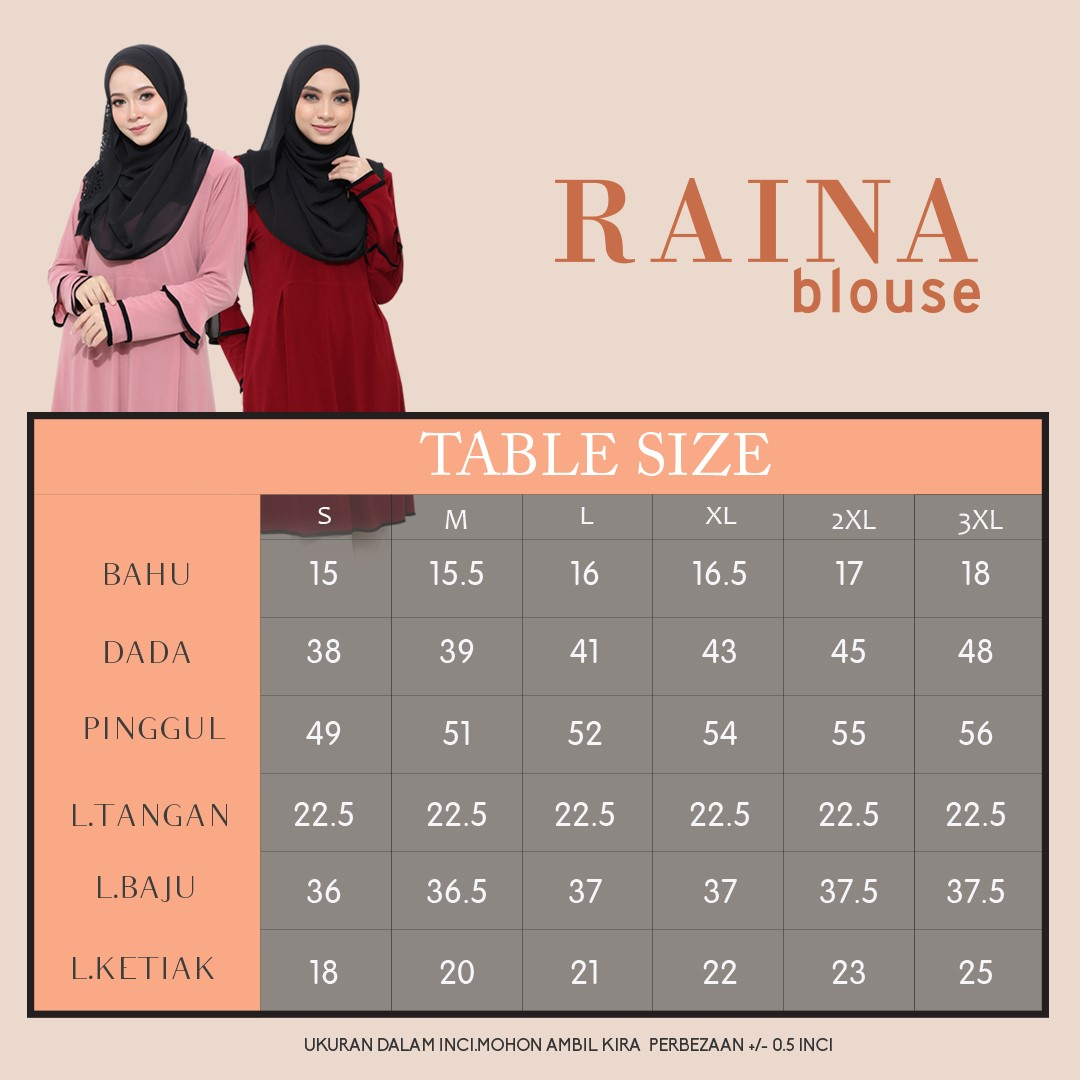 BLOUSE IRONLESS TRAVEL FRIENDLY RAINA UKURAN