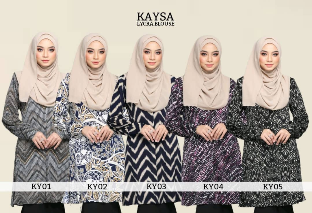 BLOUSE MUSLIMAH TERKINI IRONLESS TRAVEL FRIENDLY LYCRA KAYSA ALL