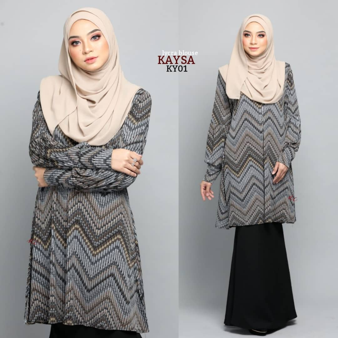 BLOUSE MUSLIMAH TERKINI IRONLESS TRAVEL FRIENDLY LYCRA KAYSA KY01