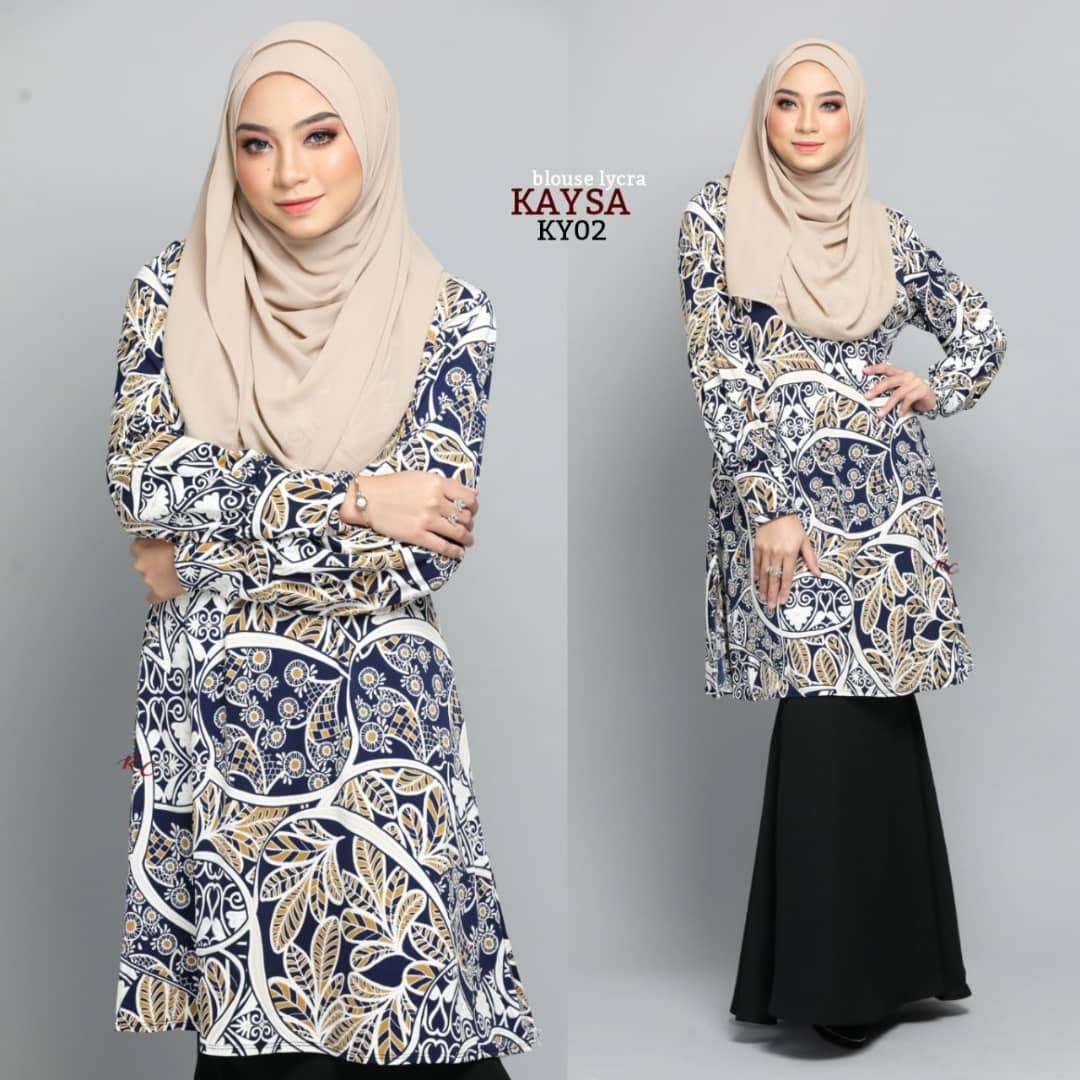 BLOUSE MUSLIMAH TERKINI IRONLESS TRAVEL FRIENDLY LYCRA KAYSA KY02