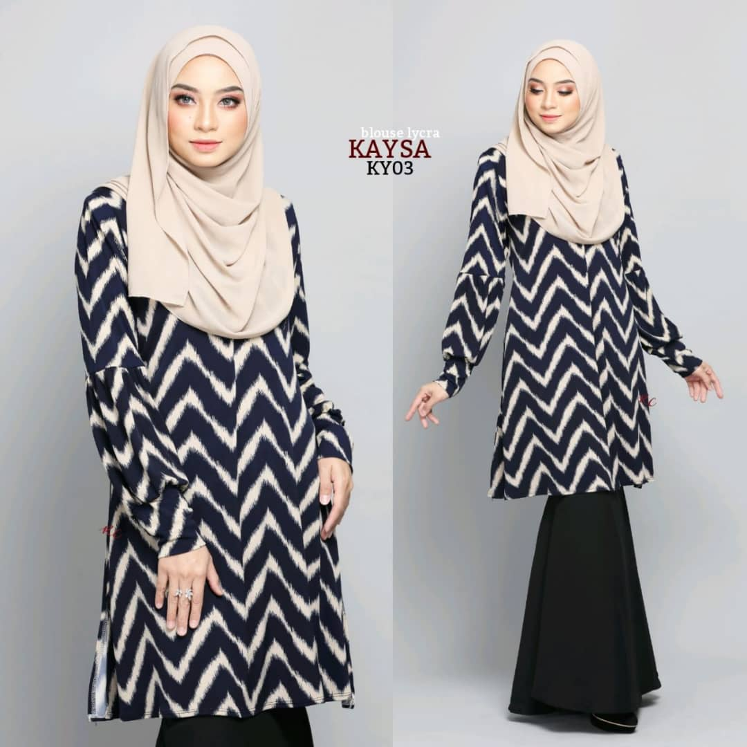 BLOUSE MUSLIMAH TERKINI IRONLESS TRAVEL FRIENDLY LYCRA KAYSA KY03