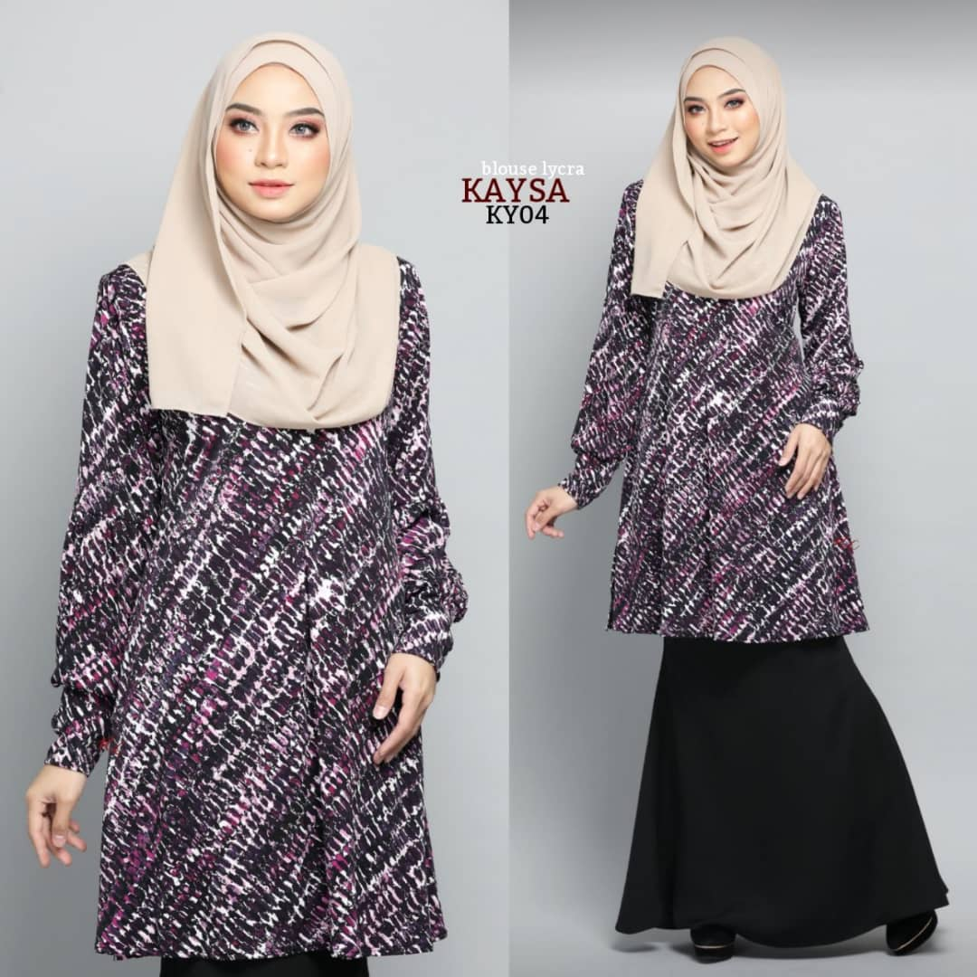 BLOUSE MUSLIMAH TERKINI IRONLESS TRAVEL FRIENDLY LYCRA KAYSA KY04
