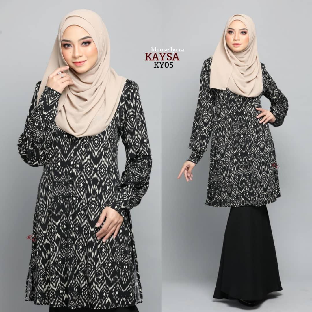 BLOUSE MUSLIMAH TERKINI IRONLESS TRAVEL FRIENDLY LYCRA KAYSA KY05