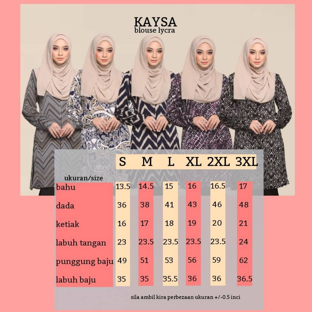 BLOUSE MUSLIMAH TERKINI IRONLESS TRAVEL FRIENDLY LYCRA KAYSA UKURAN