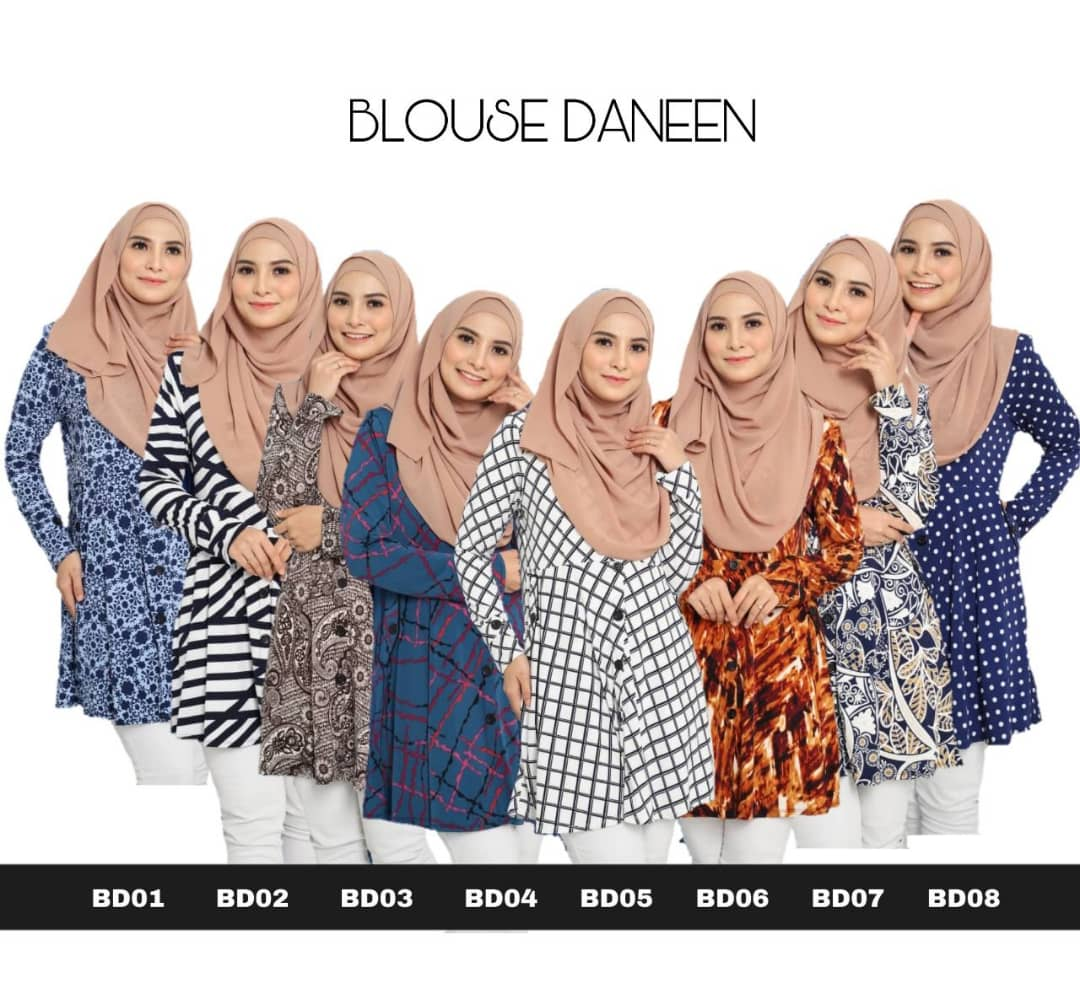 BLOUSE MUSLIMAH TERKINI LYCRA IRONLESS TRAVEL FRIENDLY DANEEN BD ALL